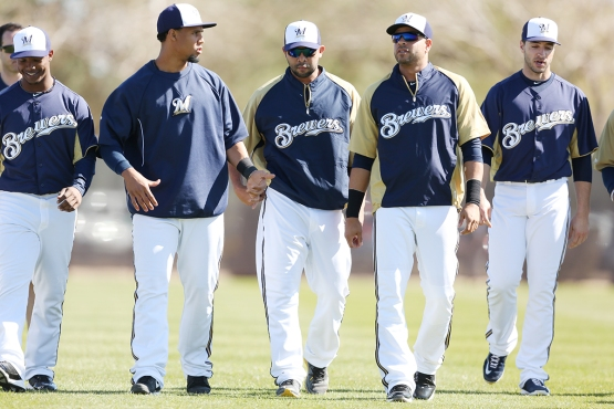 (L-R) Jean Segura, Csarlos Gomez, Alex Gonzalez, Aramis Ramirez, Ryan Braun. (Scott Paulus, Brewers)
